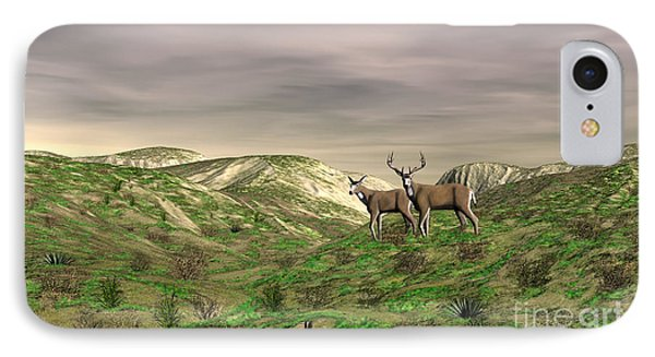Two Deer IPhone Case by Walter Colvin