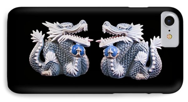IPhone Case featuring the photograph Two Dragons On Black by Bill Barber
