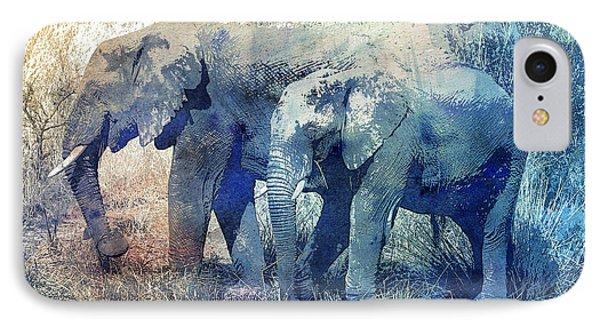 Two Elephants IPhone Case by Jutta Maria Pusl