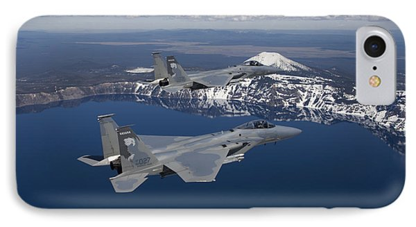 Two F-15 Eagles Fly Over Crater Lake Phone Case by HIGH-G Productions