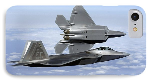 Two F-22a Raptors In Flight Phone Case by Stocktrek Images
