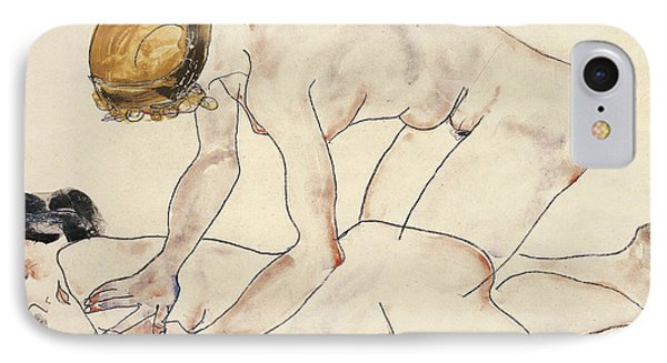 Two Female Nudes IPhone Case by Egon Schiele