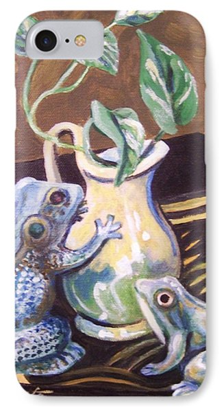 IPhone Case featuring the painting Two Frogs by Laura Aceto