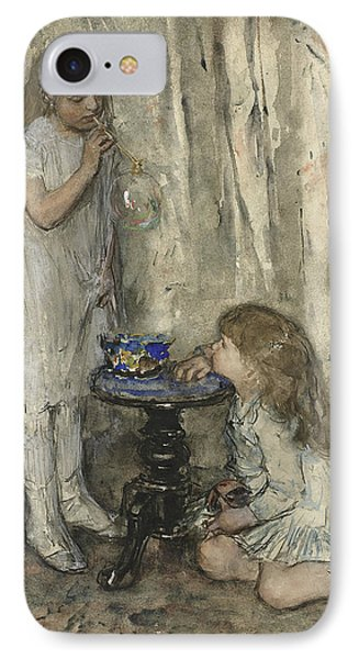 Two Girls, Daughters Of The Artist, Blowing Bubbles IPhone Case by Jacob Maris