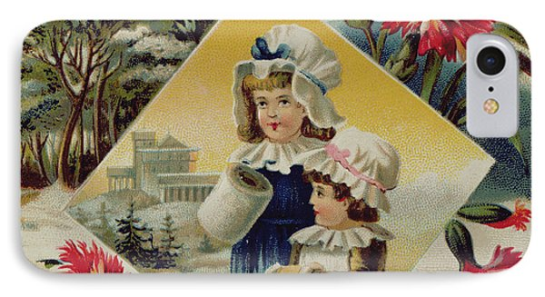 Two Girls On A Bridge In The Snow, Victorian Christmas And New Year Card IPhone Case by English School