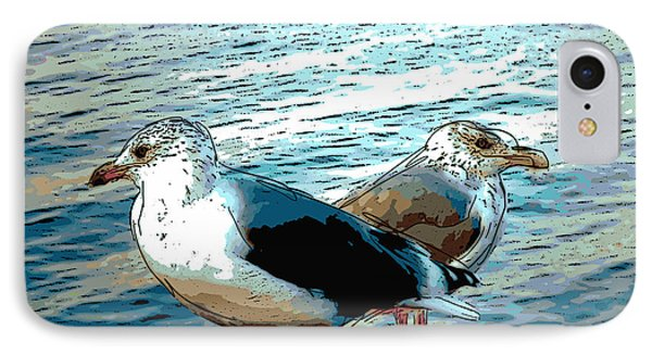 Two Gulls IPhone Case by Ann Tracy