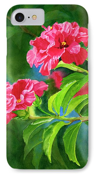Two Hibiscus Rosa Sinensis Blossoms With Background IPhone Case