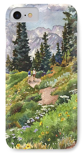 IPhone Case featuring the painting Two Hikers by Anne Gifford
