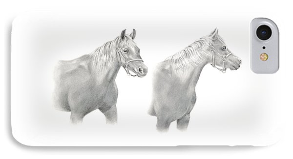IPhone Case featuring the drawing Two Horse Study by Elizabeth Lock