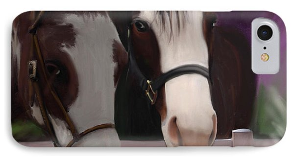 Two Horses And Purple Flowers IPhone Case by Julianne  Ososke