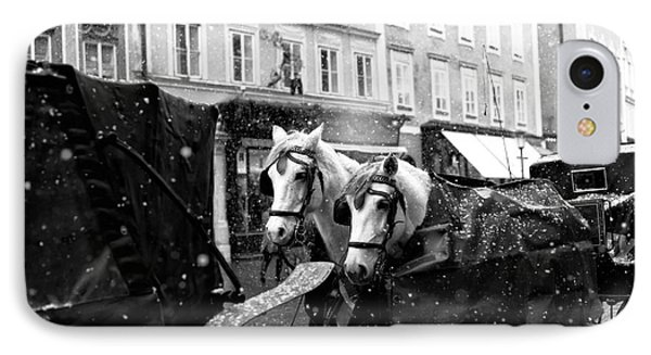 Two Horses In Salzburg IPhone Case by John Rizzuto