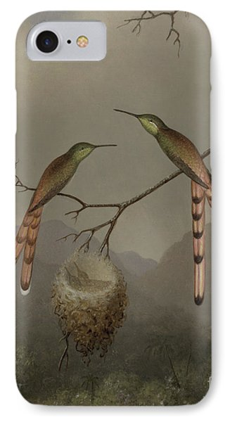 Two Hummingbirds With Their Young IPhone Case by Martin Johnson Heade