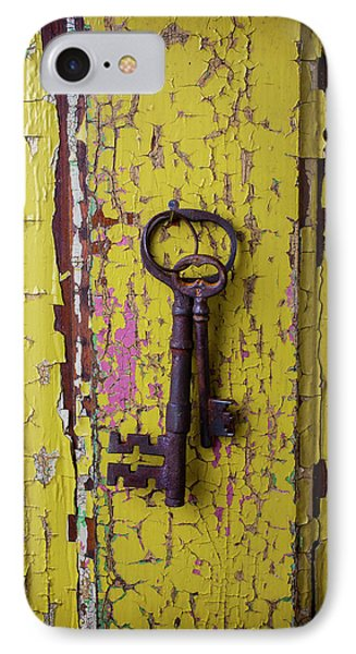 Two Keys On Yellow Door IPhone Case by Garry Gay