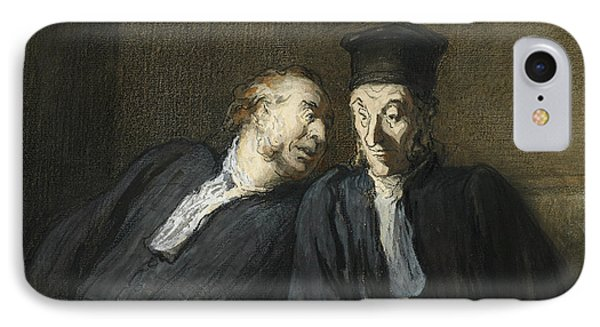 Two Lawyers Conversing IPhone Case by Honore Daumier