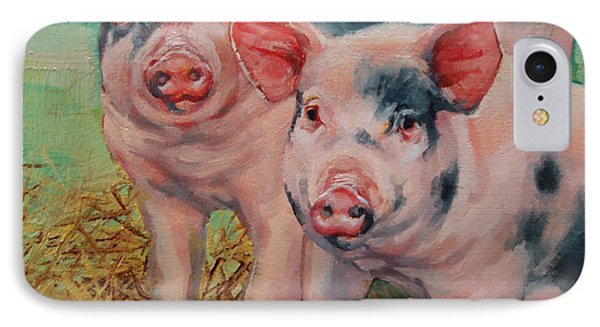 Two Little Pigs  IPhone Case by Margaret Stockdale