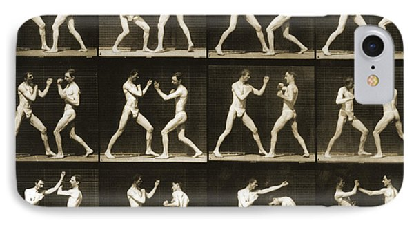 Two Men Boxing IPhone Case by Eadweard Muybridge