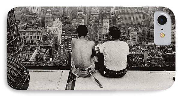 Two Men Sitting On A Scaffold Overlooking Manhattan IPhone Case