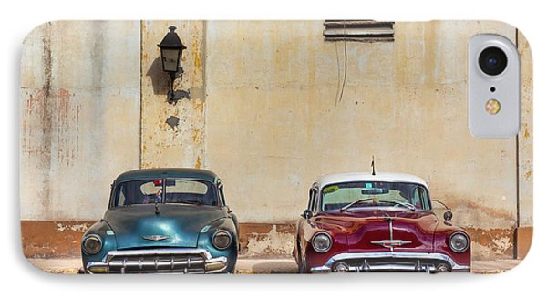 IPhone Case featuring the photograph Two Old Vintage Chevys Havana Cuba by Charles Harden