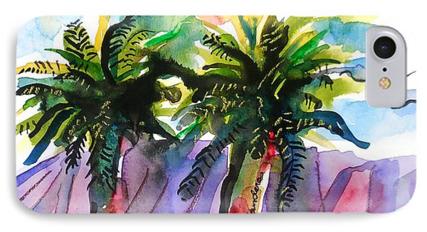 IPhone Case featuring the painting Two Palms by Terry Banderas