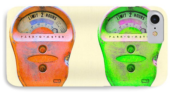 Two Park-o-meter Parking Meter . One Hour Limit IPhone Case by Home Decor