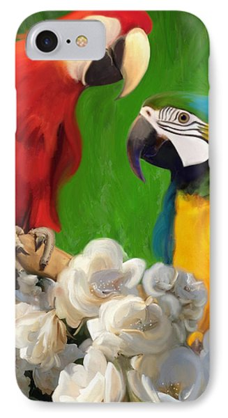 Two Parrots And White Roses IPhone Case by Julianne  Ososke