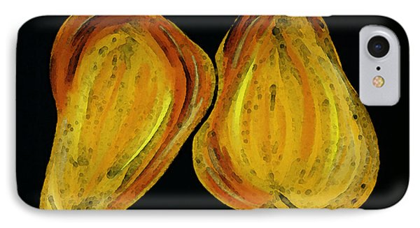 Two Pears - Yellow Gold Fruit Food Art IPhone Case by Sharon Cummings