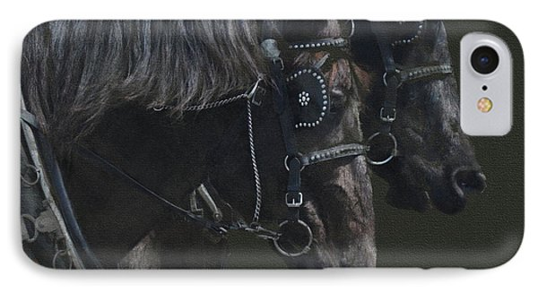 Two Percherons IPhone Case by Kathy Russell