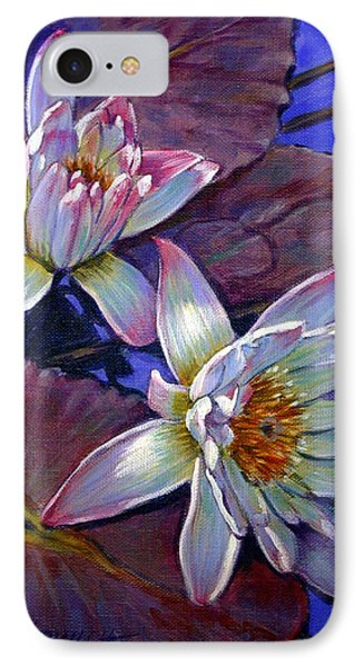 Two Pink Water Lilies Phone Case by John Lautermilch