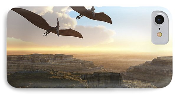 Two Pterodactyl Flying Dinosaurs Soar Phone Case by Corey Ford