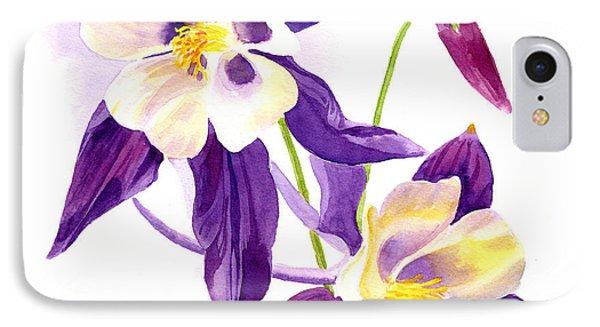 Two Purple Columbine Flower Square Design IPhone Case