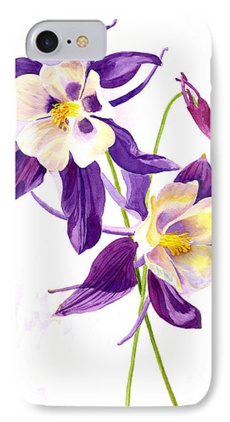 Two Purple Columbine Flowers IPhone Case