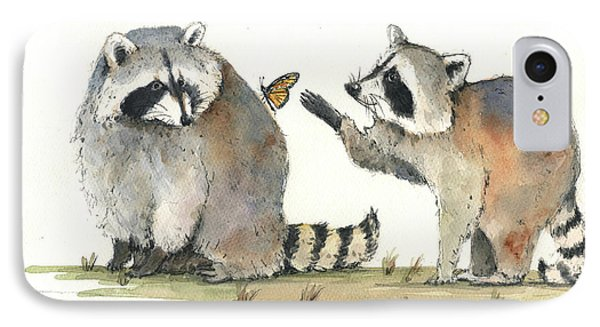 Two Raccoons IPhone Case by Juan Bosco