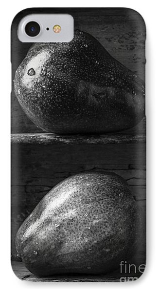 Two Ripe Pears In Black And White IPhone Case by Edward Fielding