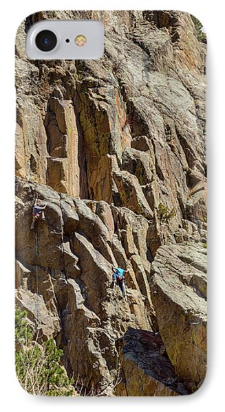 IPhone Case featuring the photograph Two Rock Climbers Making Their Way by James BO Insogna