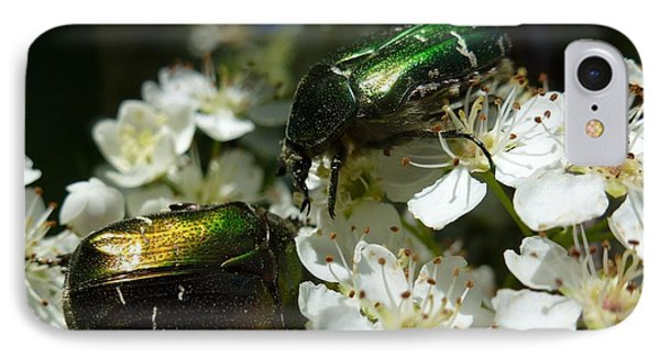 IPhone Case featuring the photograph Two Scarabs Metallic Green by Jean Bernard Roussilhe