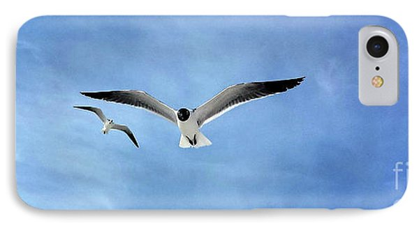 Two Seagulls Against A Blue Sky IPhone Case by Jeanne Forsythe