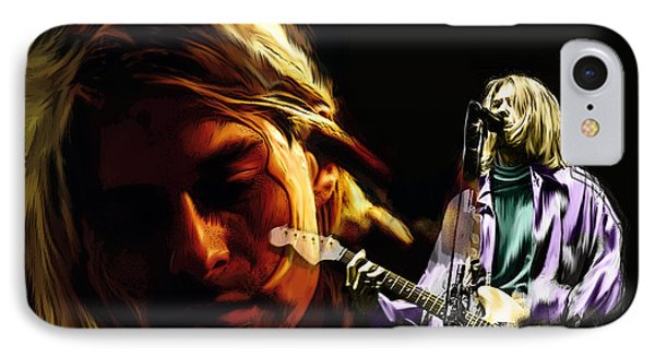 IPhone Case featuring the painting Two Shades  Kurt Cobain by Iconic Images Art Gallery David Pucciarelli