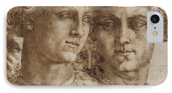 Two Studies Of The Head Of A Youth IPhone Case by Baccio Bandinelli