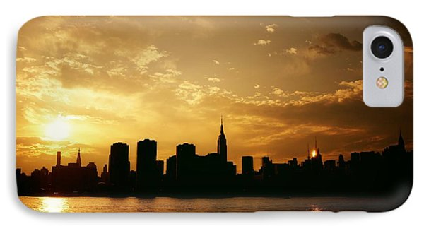 City Sunset iPhone 7 Case - Two Suns - The New York City Skyline In Silhouette At Sunset by Vivienne Gucwa