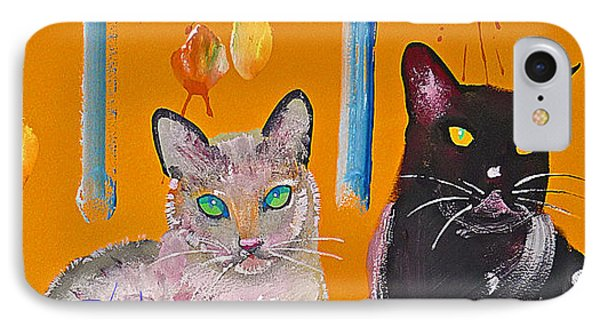 Two Superior Cats With Wild Wallpaper Phone Case by Charles Stuart