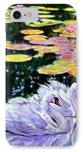 Two Swans In The Lilies Phone Case by John Lautermilch
