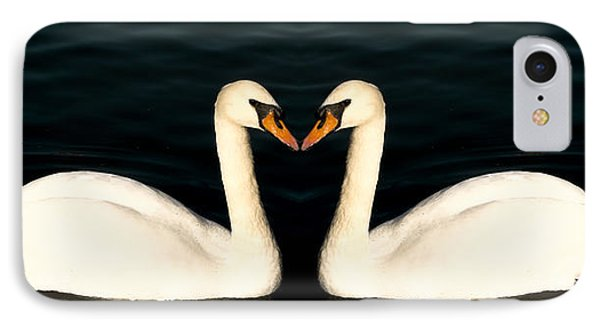 Two Symmetrical White Love Swans IPhone Case by John Williams