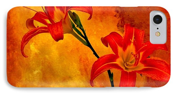 IPhone Case featuring the digital art Two Tigerlilies by Marsha Heiken