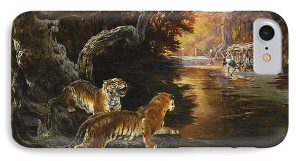 Two Tigers On The Hunt IPhone Case by Celestial Images