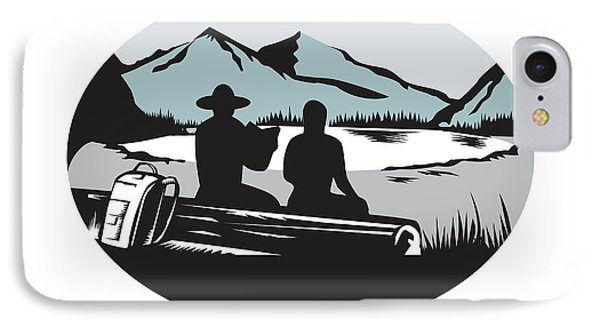 Two Trampers Sitting On Log Lake Mountain Oval Woodcut IPhone Case