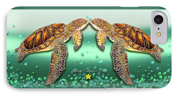 IPhone Case featuring the painting Two Turtles by Debbie Chamberlin