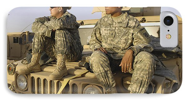 Two U.s. Army Soldiers Relax Prior Phone Case by Stocktrek Images