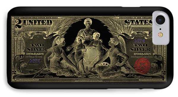 IPhone Case featuring the photograph Two U.s. Dollar Bill - 1896 Educational Series In Gold On Black  by Serge Averbukh