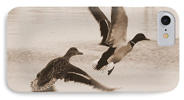 Two Winter Ducks In Flight IPhone Case