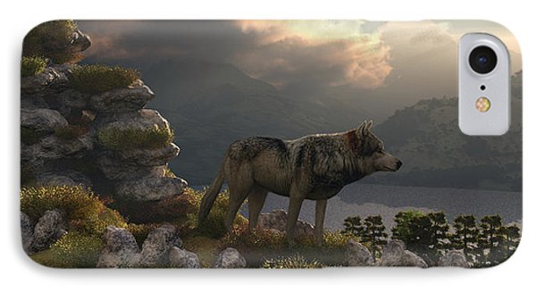 Two Wolfs On A Lookout  IPhone Case by Walter Colvin